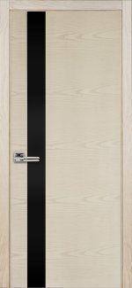 Двери Терминус Модель 21 ясень crema эмаль с черным стеклом