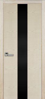 Двери Терминус Модель 23 ясень crema эмаль с черным стеклом