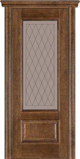 Межкомнатные двери Двери Модель 52 Каро Терминус дуб браун со стеклом 21