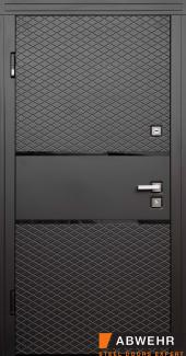 Входные двери Loriana 368 Abwehr черная шагрень / белый