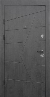 Двери Qdoors Премиум Акцент бетон темный снаружи / бетон серый внутри