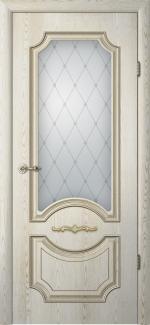 Межкомнатные двери Двери Леонардо Альберо ясень голд с патиной стекло Классика