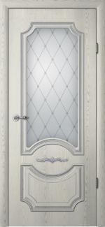 Межкомнатные двери Двери Леонардо Альберо ясень грей с патиной стекло Классика