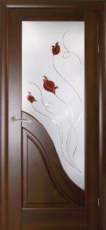 Двери Амата Новый Стиль каштан Делюкс со стеклом Р1