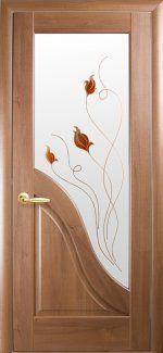 Межкомнатные двери Двері Амата Новий Стиль золота вільха делюкс зі склом Р1