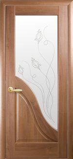 Межкомнатные двери Амата Новый Стиль золотая ольха делюкс со стеклом Р2