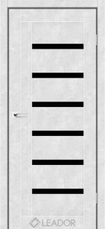 Межкомнатные двери Двері Amelia Леадор бетон білий скло чорне