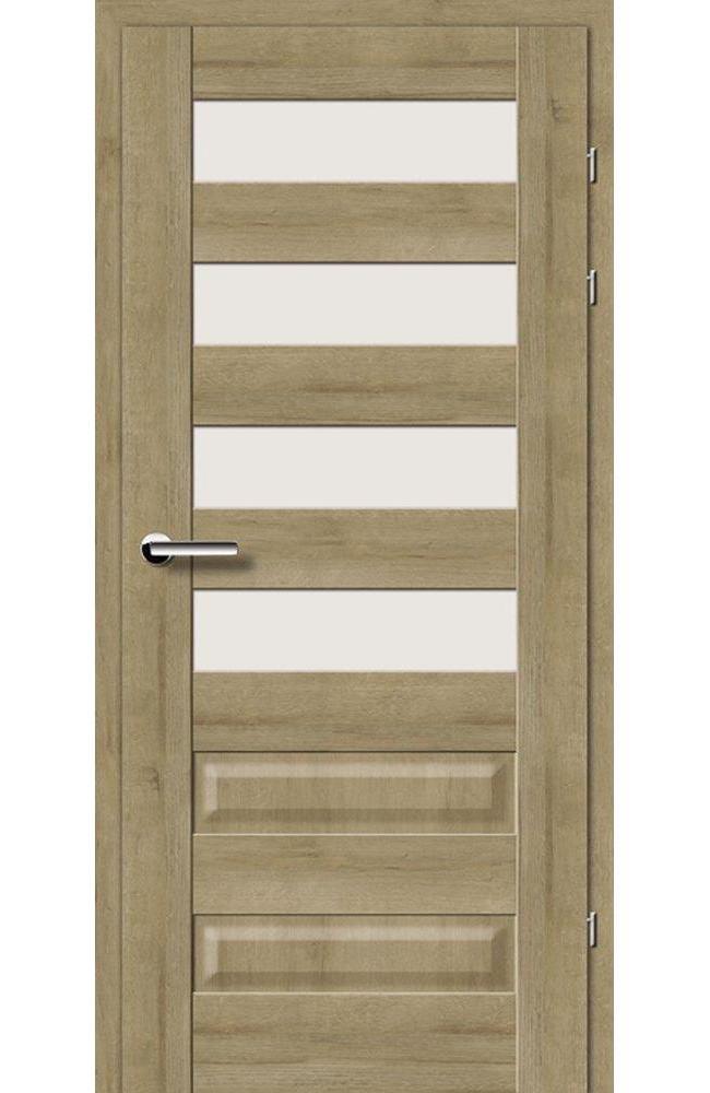 Двері 19.44 Брама дуб натуральний скло Сатін