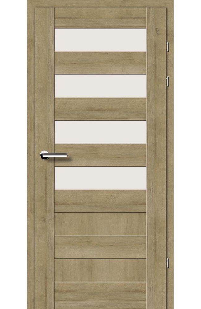 Двері 19.44 EuroDoors Брама дуб натуральний скло Сатін
