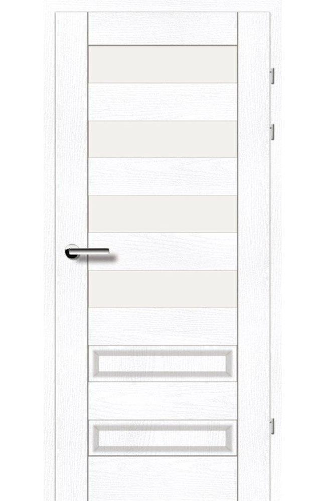 Двері 19.44 Брама ясень альпійський скло Сатін