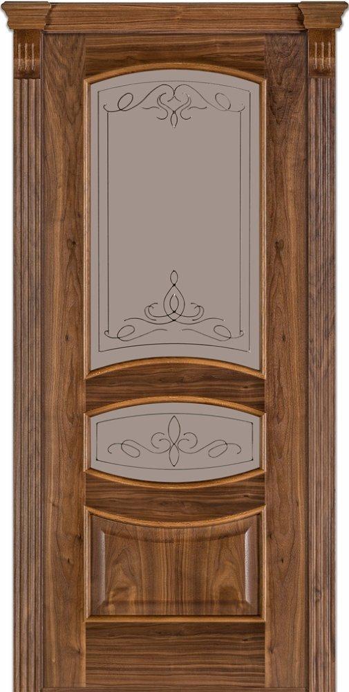 Двери Модель 50 Каро Терминус орех американский со стеклом 03