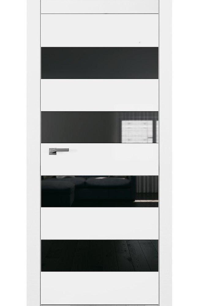Двери А5 Art Vision Омега белый мат стекло черное