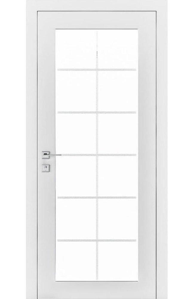 Двери Loft Porto Родос белая эмаль стекло Сатин - Межкомнатные двери — фото №1