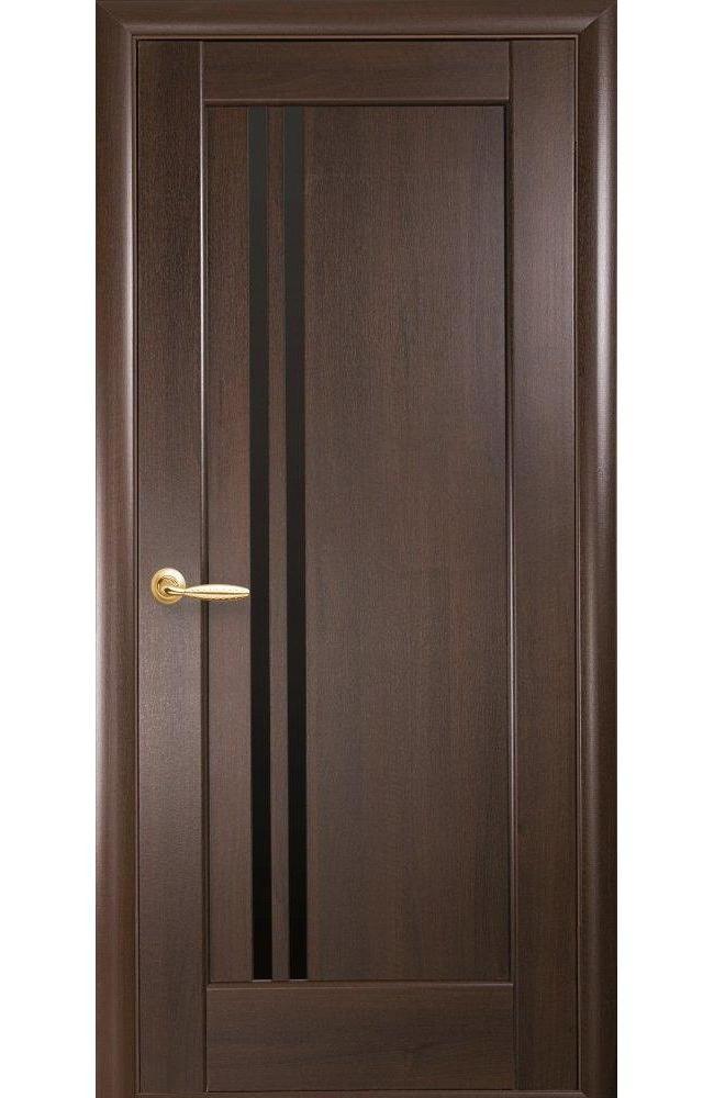 Двери Делла Black Новый Стиль каштан делюкс стекло черное