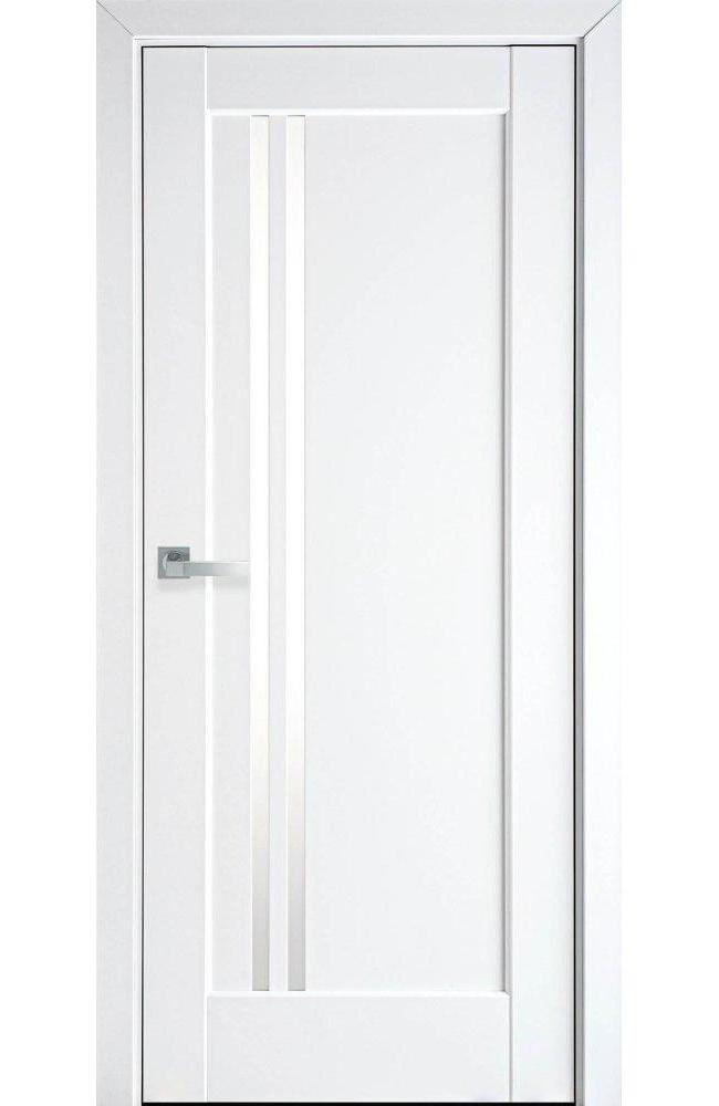 Двери Делла Новый Стиль белый мат премиум стекло Сатин - Межкомнатные двери — фото №1
