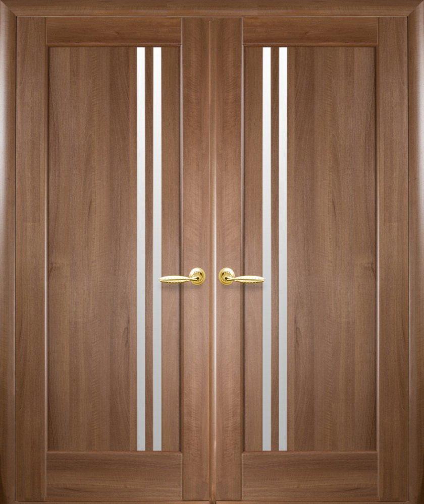 Двері Делла Новий Стиль золота вільха делюкс скло Сатін