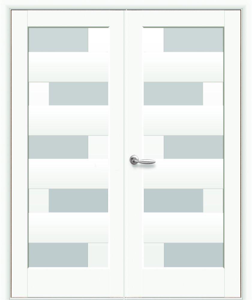 Двери двустворчатые Пиана Новый Стиль белый мат премиум стекло Сатин