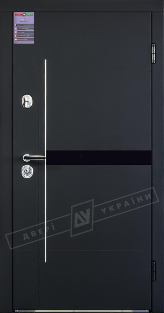 Двері України Элис Интер чорний софттач з молдингом і склом / зсередини білий супермат з молдингом і склом