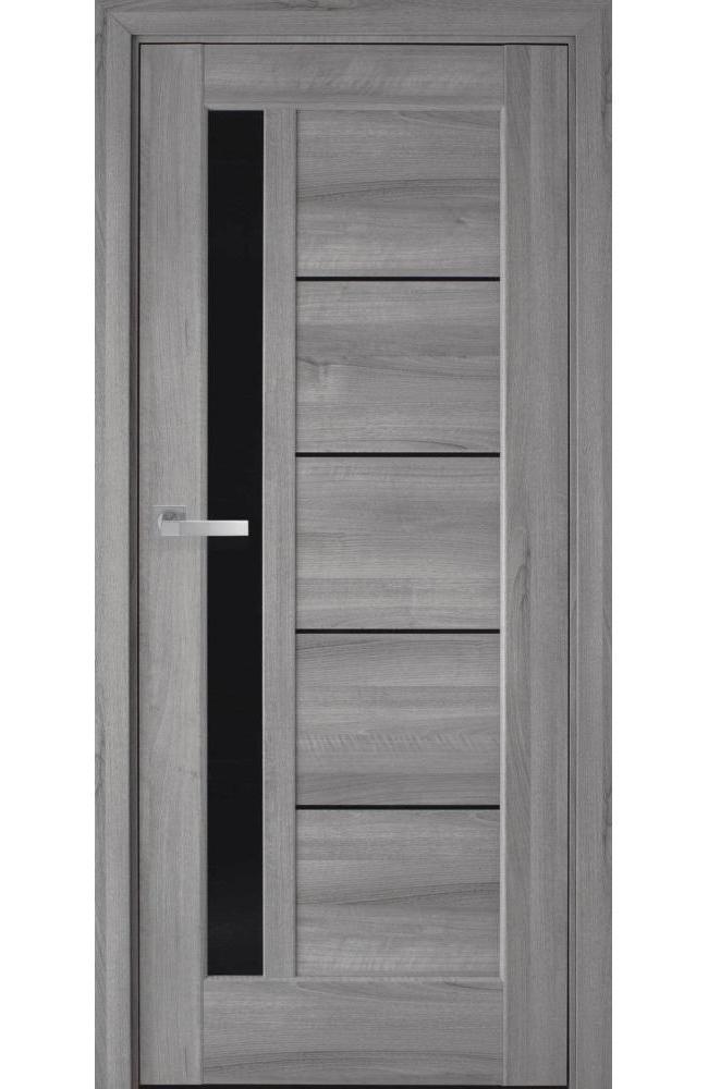 Двери Грета Новый Стиль бук пепельный делюкс стекло черное - Межкомнатные двери — фото №1