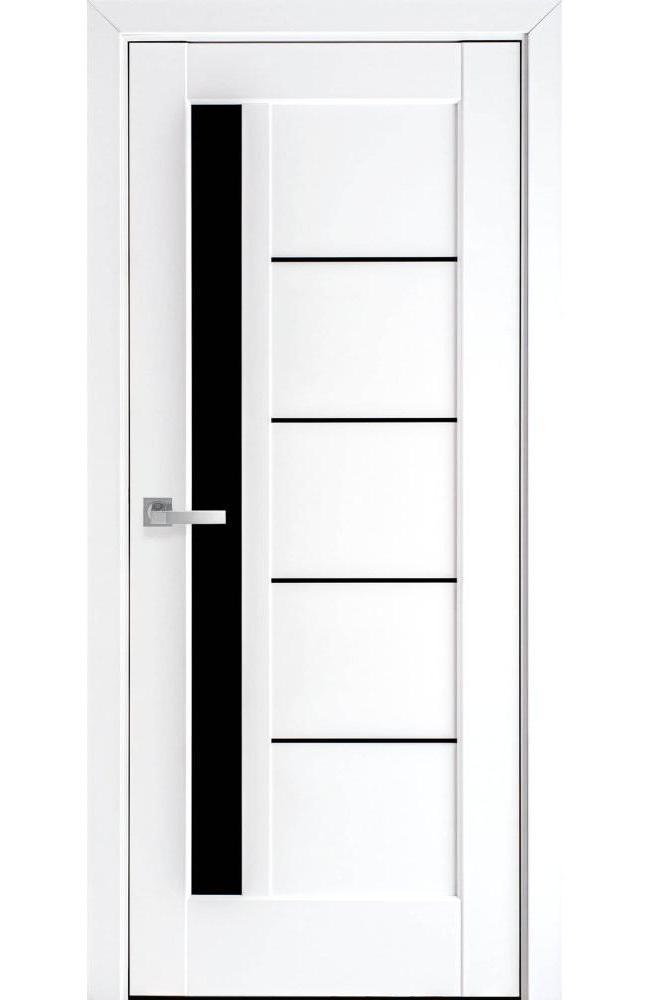 Двери Грета Новый Стиль белый мат премиум стекло черное - Межкомнатные двери — фото №1