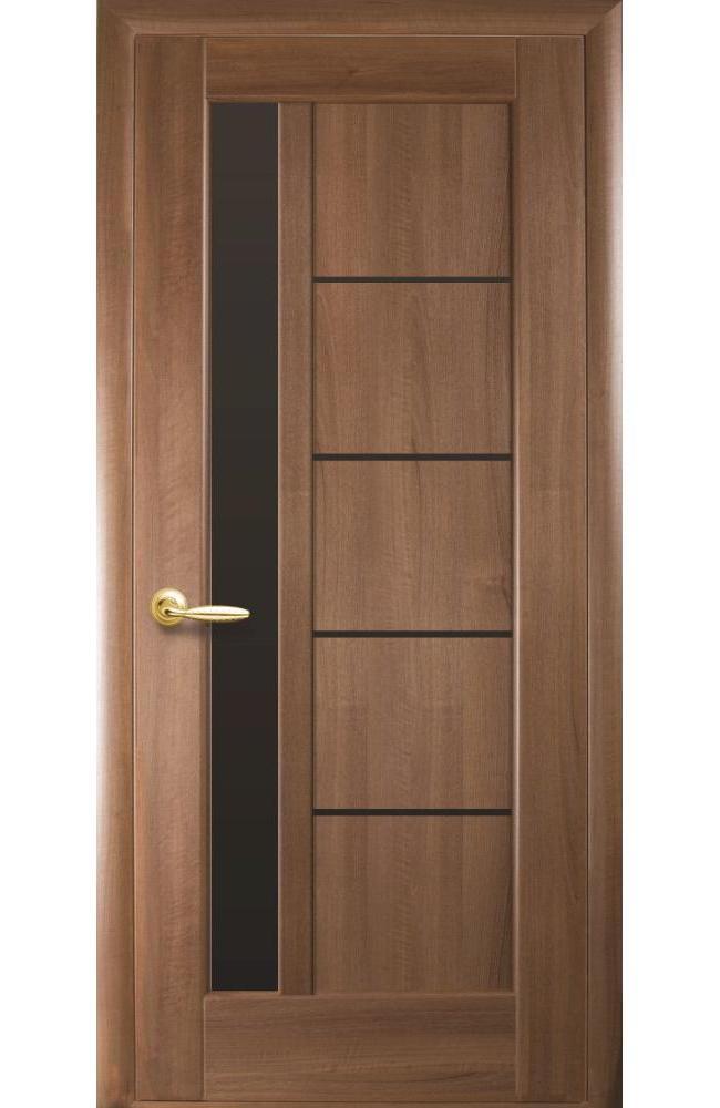 Двери Грета Новый Стиль золотая ольха делюкс стекло черное - Межкомнатные двери — фото №1