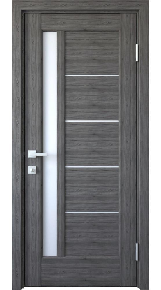 Двери Грета Новый Стиль грей делюкс New стекло Сатин - Межкомнатные двери — фото №1
