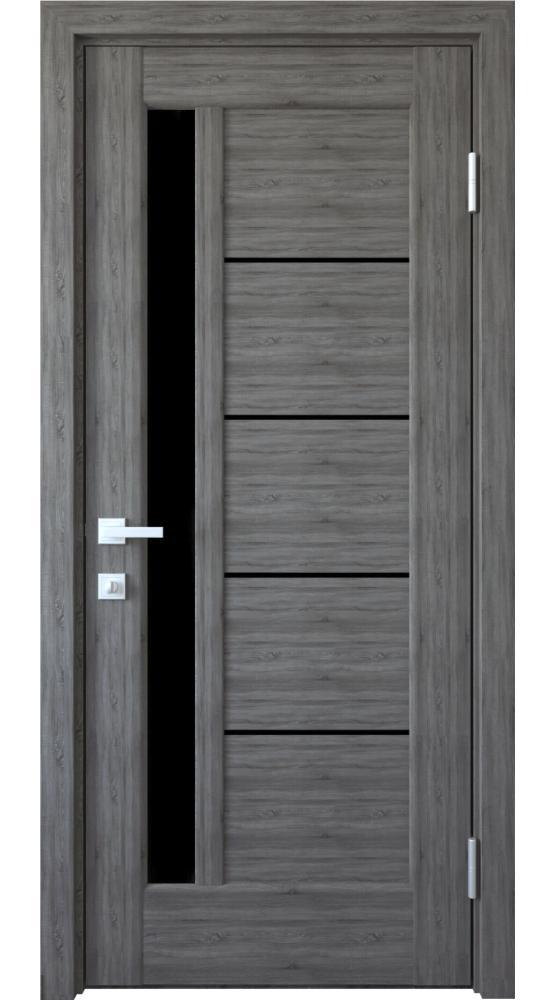 Двери Грета Новый Стиль грей делюкс New стекло черное - Межкомнатные двери — фото №1
