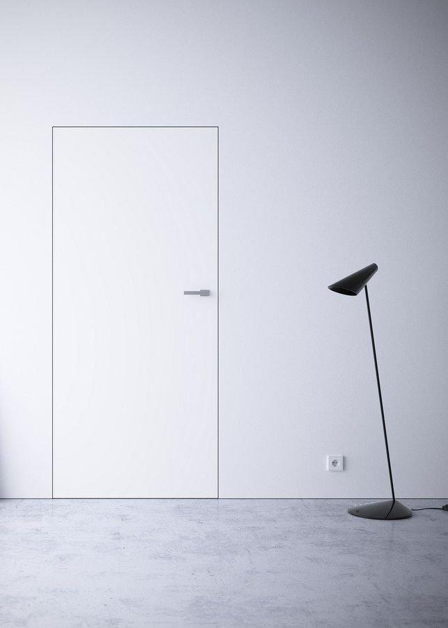 Двери скрытого монтажа белые Invisible прима белая эмаль родос глухое