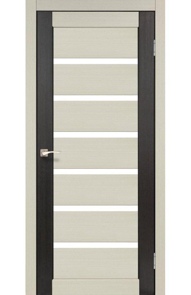 Двери Porto Combi Colore PC-01 Корфад беленый дуб стекло Сатин