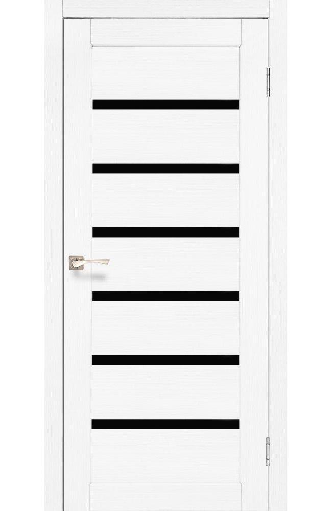 Двери Porto Deluxe PD-01 Корфад ясень белый стекло черное - Межкомнатные двери — фото №1