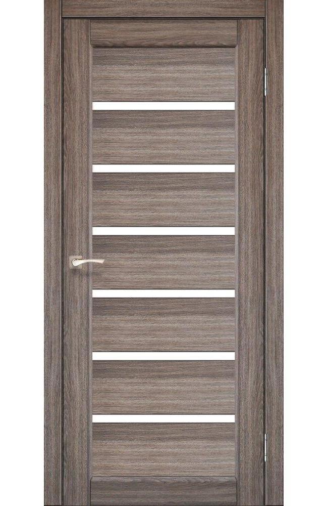 Двери Porto PR-01 Корфад дуб грей стекло Сатин - Межкомнатные двери — фото №1