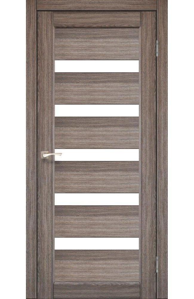 Двери Porto PR-03 Корфад дуб грей стекло Сатин - Межкомнатные двери — фото №1