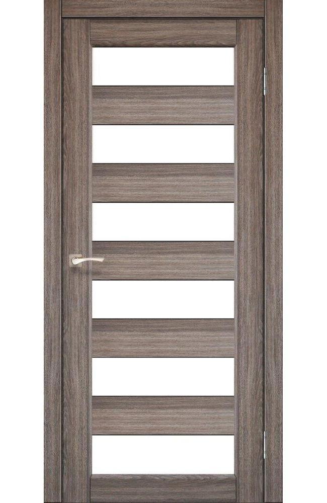 Двери Porto PR-04 Корфад дуб грей стекло Сатин - Межкомнатные двери — фото №1