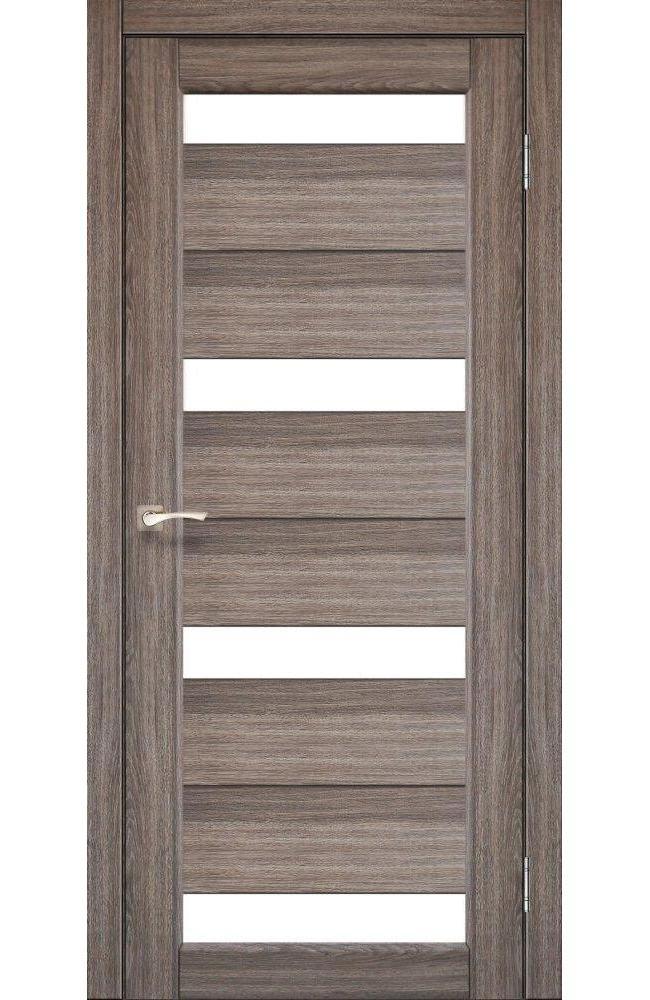 Двери Porto PR-06 Корфад дуб грей стекло Сатин - Межкомнатные двери — фото №1