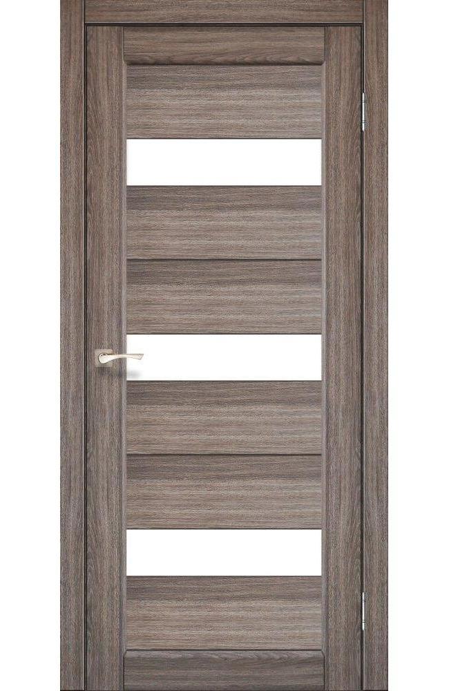 Двери Porto PR-11 Корфад дуб грей стекло Сатин - Межкомнатные двери — фото №1
