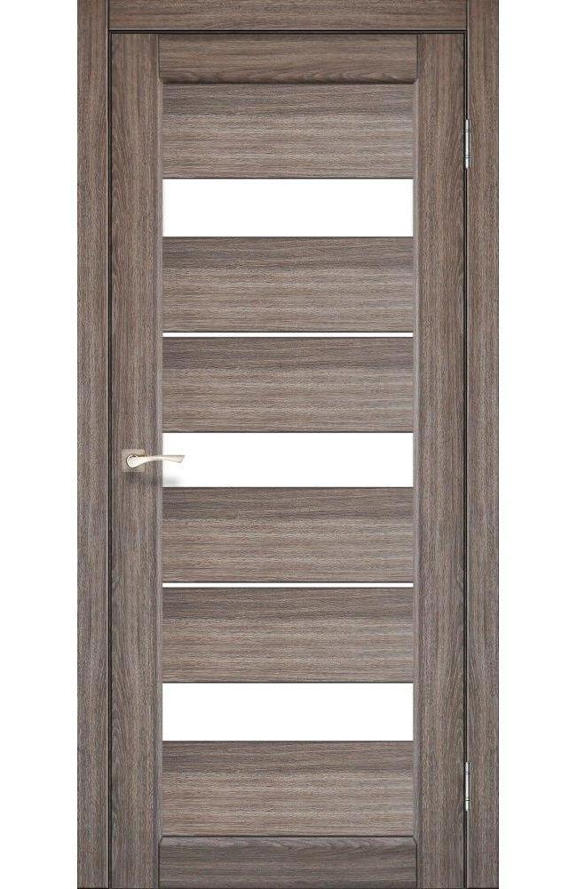 Двери Porto PR-12 Корфад дуб грей стекло Сатин - Межкомнатные двери — фото №1