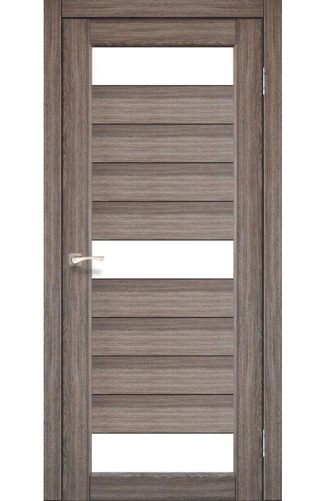Двери Porto PR-14 Корфад дуб грей стекло Сатин - Межкомнатные двери — фото №1