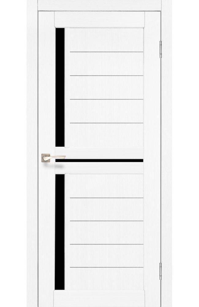 Двери Scalea SC-04 Корфад ясень белый стекло черное