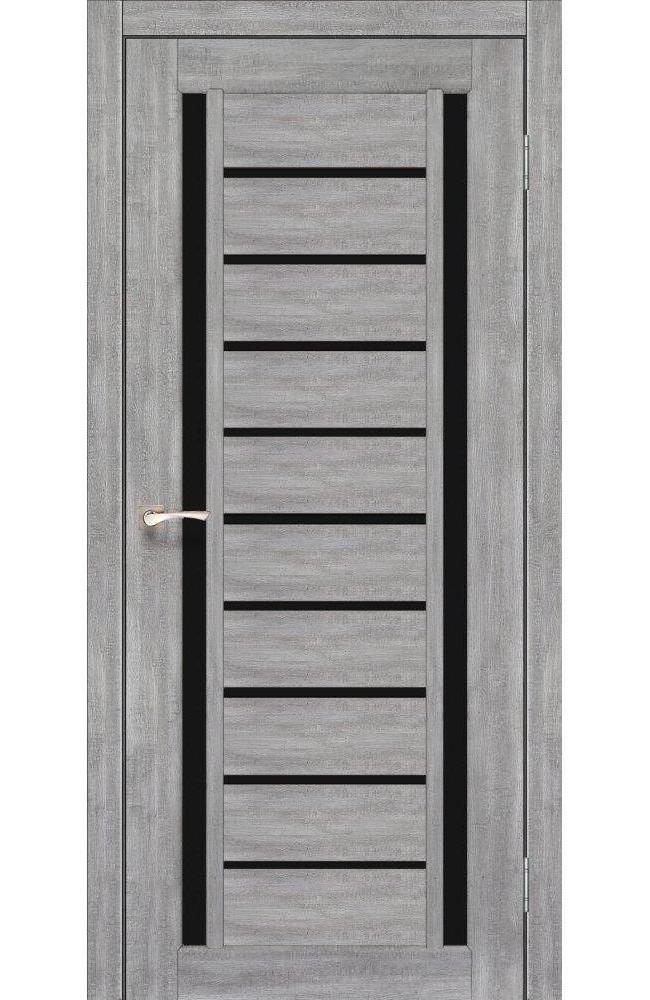 Двери Valentino Deluxe VLD-03 Корфад эш вайт стекло черное