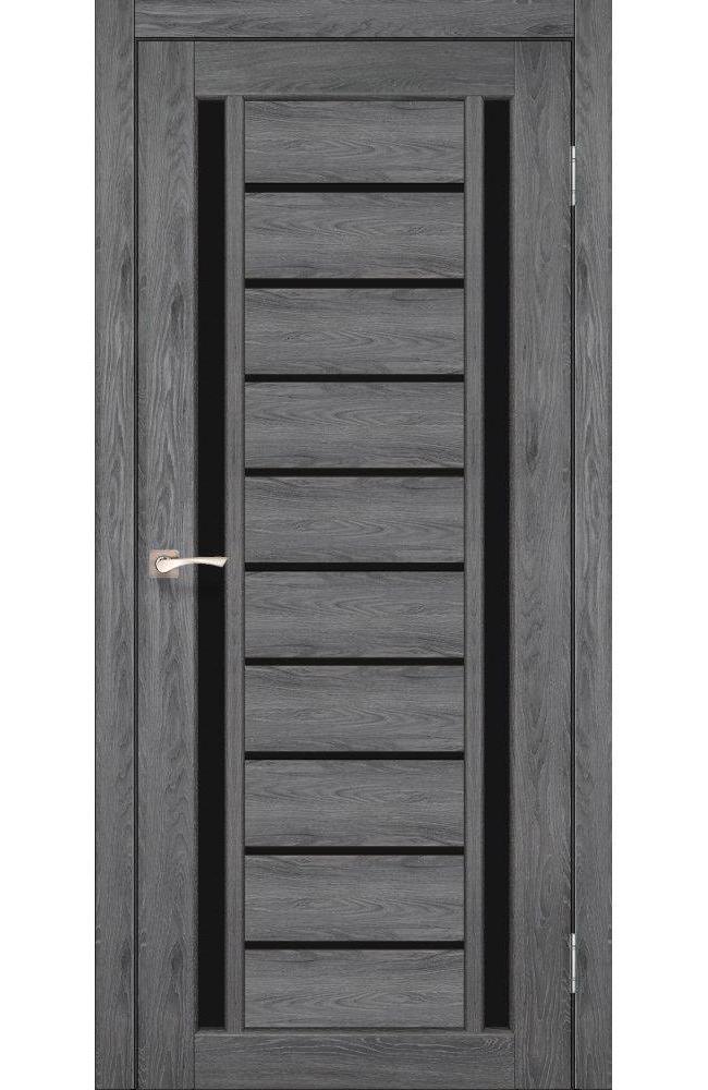 Двери Valentino Deluxe VLD-03 Корфад дуб марсала стекло черное