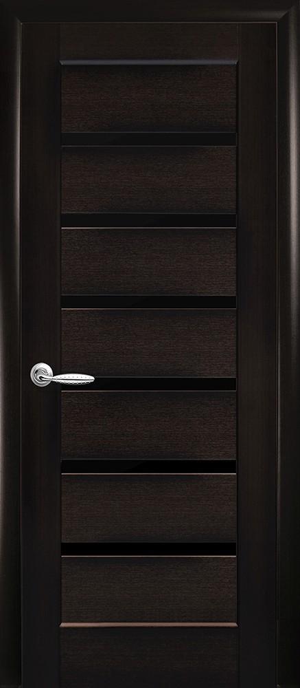 Двери Линнея Новый Стиль венге делюкс стекло черное - Межкомнатные двери — фото №1