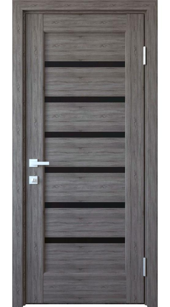 Двери Линнея Новый Стиль грей делюкс New стекло черное - Межкомнатные двери — фото №1