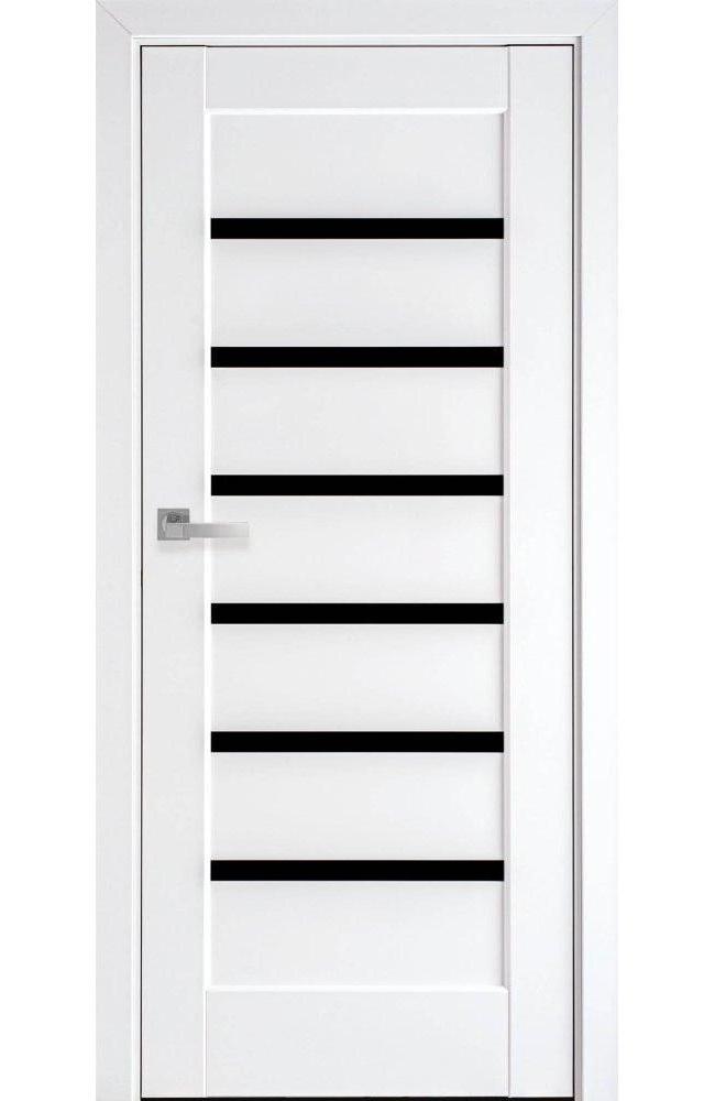 Двери Линнея Новый Стиль белый мат премиум стекло черное - Межкомнатные двери — фото №1