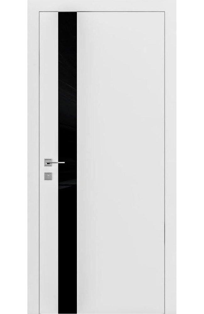 Двери Loft Berta V Родос белая эмаль с черным стеклом - Межкомнатные двери — фото №1