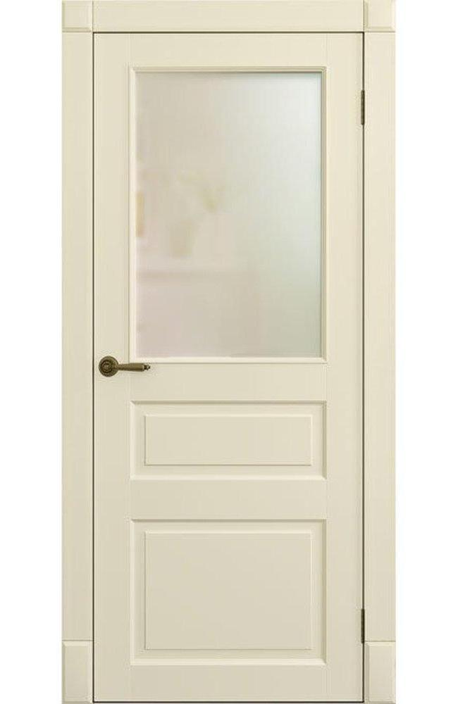 Двери Лондон ПО Amore Classic наличник гладкий Омега слоновая кость со стеклом