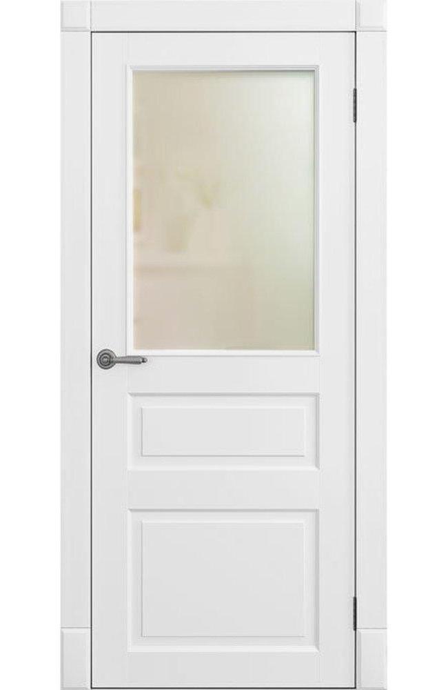 Двери Лондон ПО Amore Classic наличник гладкий Омега белый мат со стеклом