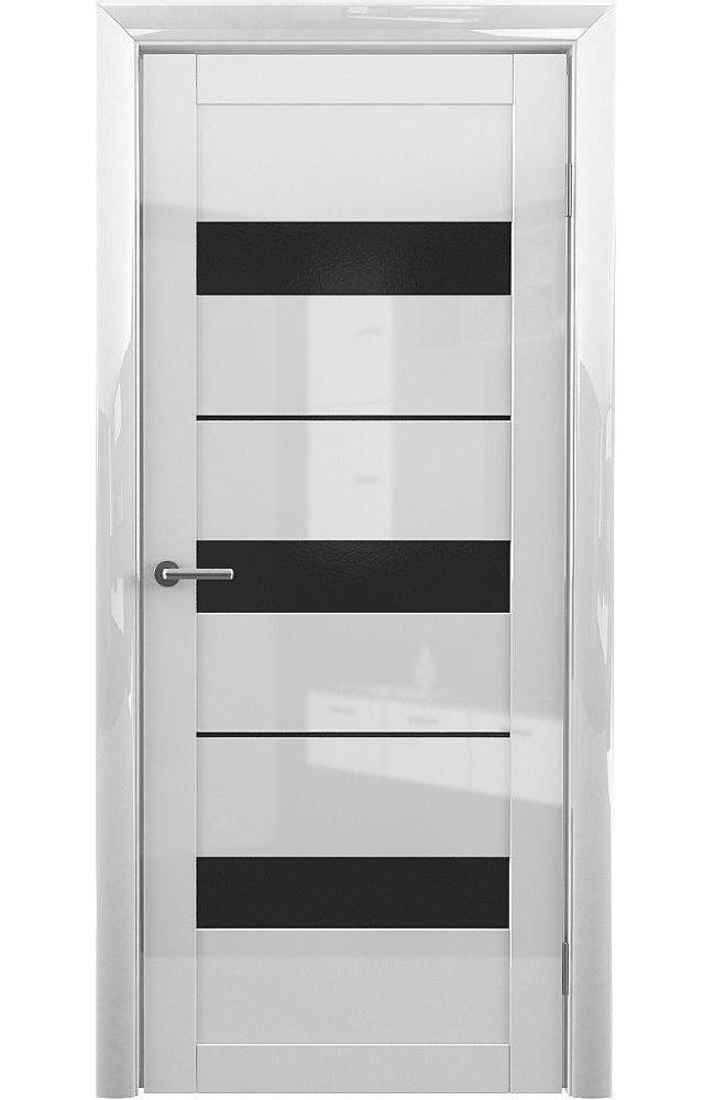 Двери Praga Альберо белый глянец стекло черное