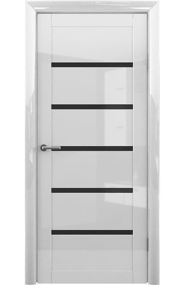 Двери Vena-Flora Альберо белый глянец стекло черное