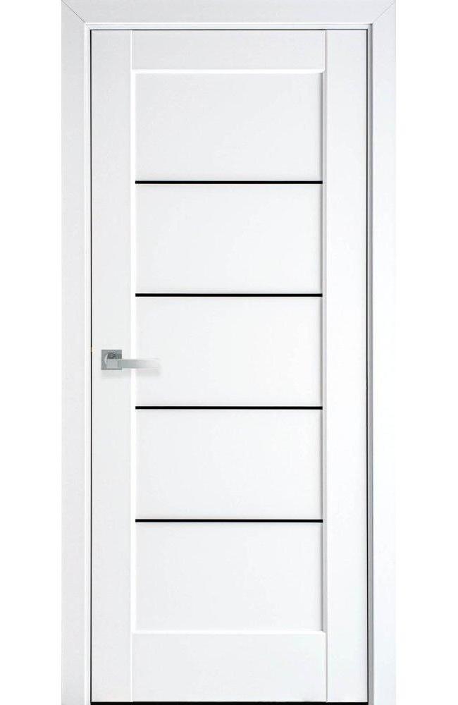 Двері Міра Новий Стиль білий мат преміум скло чорне