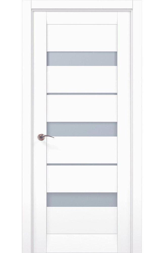 Двери ML-22c Папа Карло белый мат стекло Сатин - Межкомнатные двери — фото №1